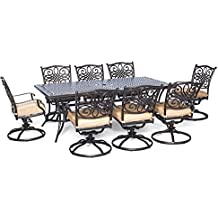 Hanover 9 Piece Traditions Dining Set with 8 Swivel Chairs and Large 84″ x 42″ Table