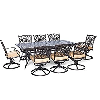 Hanover Traditions 9 Piece Dining Set with Eight Swivel Dining Chairs and a Large Dining Table, 84 x 42""