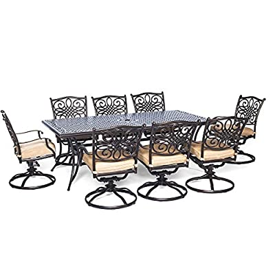 Hanover TRADDN9PCSW-8 Traditions 9 Piece Dining Set Outdoor Furniture, Bronze Frame, Tan - 9-Piece Dining Set from Hanover's Traditions Collection Set includes eight swivel dining chairs, eight seat cushions and a large dining table Heavy-duty aluminium frames with ornate lattice details - patio-furniture, dining-sets-patio-funiture, patio - 51GfdpspaIL. SS400  -