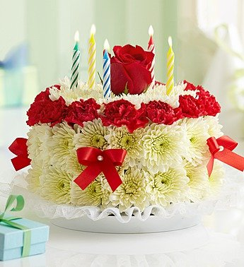 Amazoncom Birthday Flower Cake Bright by 1800 Flowers