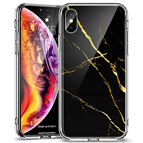 ESR Mimic Tempered Glass Case for iPhone Xs Max,9H Tempered Glass Back Cover [Mimics The Glass Back of iPhone] + Soft Silicone Bumper [Shock Absorption] for iPhone 6.5 inch(BlackGold)