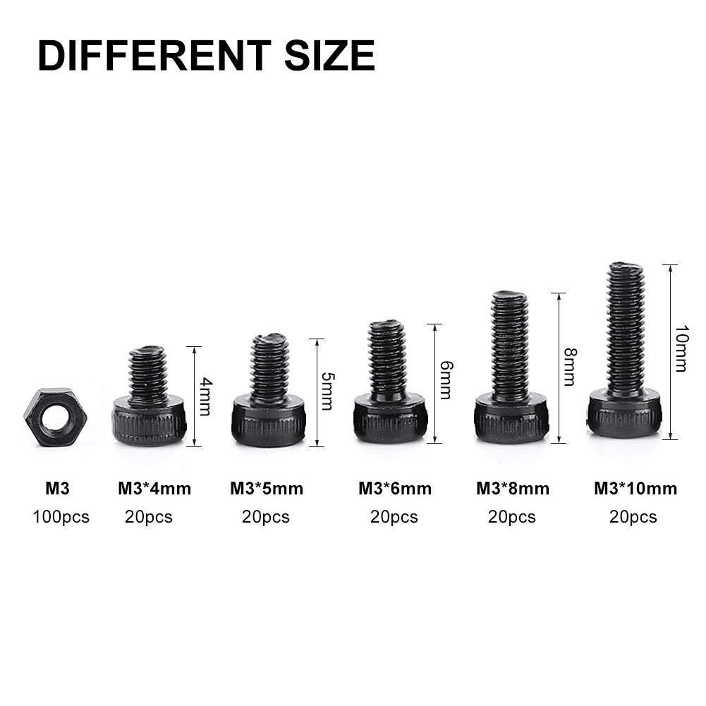 280Pcs//Box M3 Cap Head Hex Socket Bolt Screw Nut Metric Machine Fastener Assortment Set Rivets Cap Head Hex Socket Screw Bolt