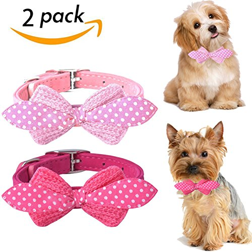 Pink Bowtie Small Dog Collar Set - SCENEREAL Best Adjustable Cute Soft Puppy Outdoor Collars 2 Pcs for Cats Small to Medium Pets 8-11