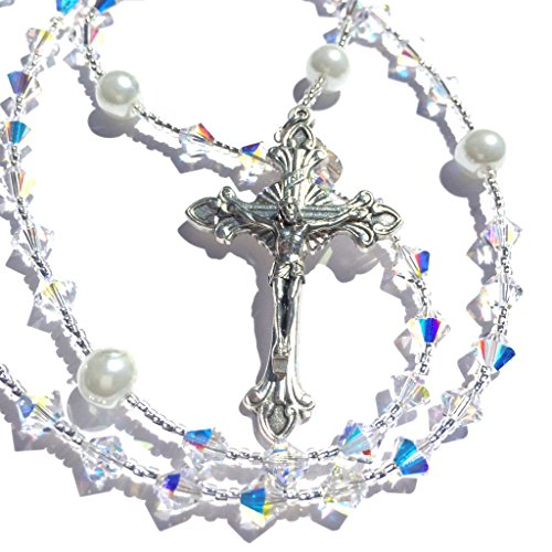 Rana Jabero Sparkling Iridescent Crystal AB Swarovski and Glass Pearl Catholic Rosary Beads