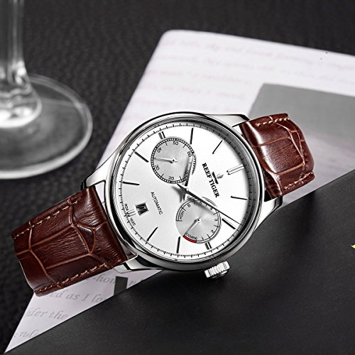 Reef Tiger Casual Mens Watches Date Power Reserve Steel Case Automatic Watches Leather Strap RGA1620