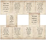Top Ten Romantic Literary Quote Poster Set. Typography Art Prints Featuring Wharton, Austen, Brontë, Dickens, Firzgerald, Shakespeare, Keats, Whitman, Wilde and Woolf.