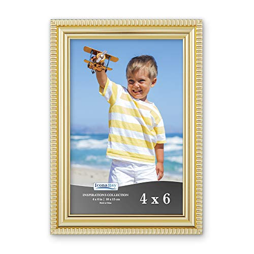 Icona Bay 4x6 Picture Frames (1 Pack, Gold) Picture Frame Set, Wall Mount or Table Top, Inspirations Collection ()
