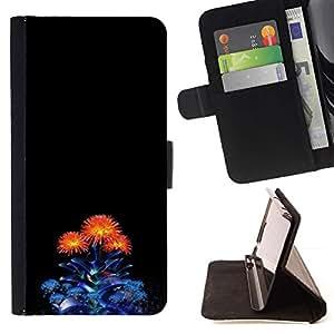For Samsung Galaxy Note 3 III Case , Azul Naranja minimalista Bouquet Flor- la tarjeta de Crédito Slots PU Funda de cuero Monedero caso cubierta de piel
