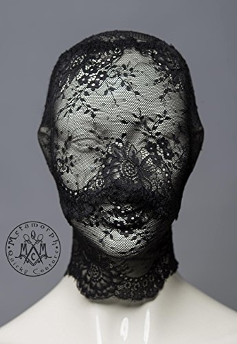 Black full face lace mask / Pseudo blindfold lace hood by Metamorph Quirky Couture