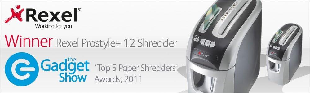 7.5 Litre Bin Rexel Prostyle+ 2104005 5 Sheet Manual Cross Cut Shredder for Home or Small Office Use Pack of 12 Black /& Basics Shredder Sharpening /& Lubricant Sheets