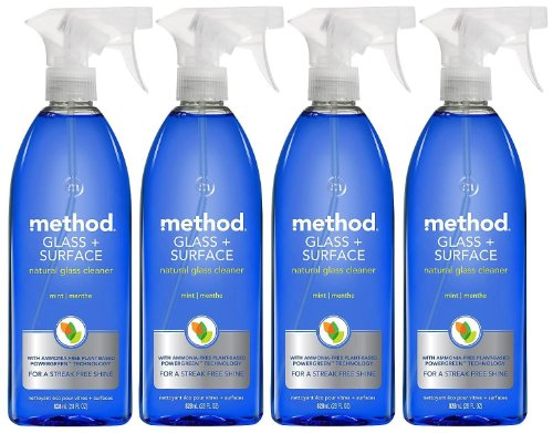 Method Natural Glass Cleaner, Mint, 28oz, 4pk
