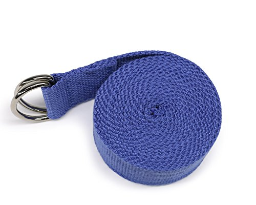 Yes4All Yoga Strap 8ft with D-ring Set (Blue - Single) - ²1E4BZ