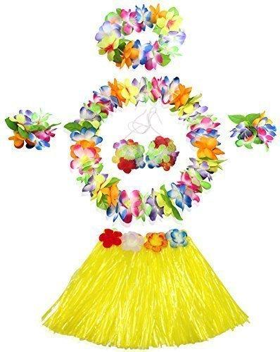 [WISDOMTOY 6- piece Holiday Christmas Party Costumes Hawaiian Hula Grass Skirt Dance Wears Clothing Set,] (Hawaiian Hula Outfits)