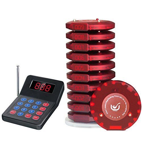NADAMOO Restaurant Pager System With 10 Coaster Pager Wireless Paging System Calling System Portable Rechargable Restaurant Buzzers with Numeric Keypad Transmitter - Restaurant System