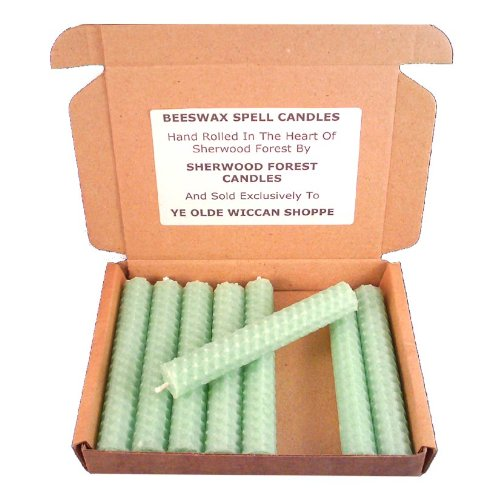 Set of 8 Witch's Beeswax Spell Candles - Pale Green - 10cm GeoFossils