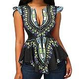 VJGOAL Women Asymmetric Hem Cap Sleeve Printed Zipper Closure Blouse Tops Ethnic Prints T Shirts
