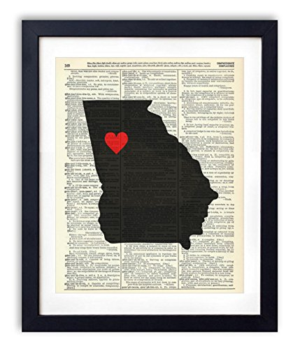 Georgia Capital With Heart Upcycled Vintage Dictionary Art Print 8x10