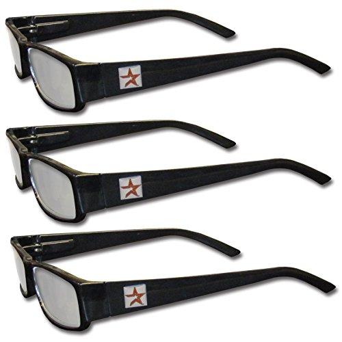 MLB Houston Astros Adult Reading Glasses (3-Pack), Black, Reading Power: +1.75