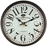 Perla PD Design Metal Wall Clock with Glass Pane Vintage Design Paint Diameter Approximately 30cm, Metal, Westminster