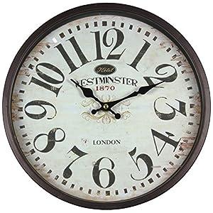 Reloj de pared de metal lacado con esfera de cristal y diseño vintage de Perla PD DesignDiámetro: 30cm., metal, Westminster