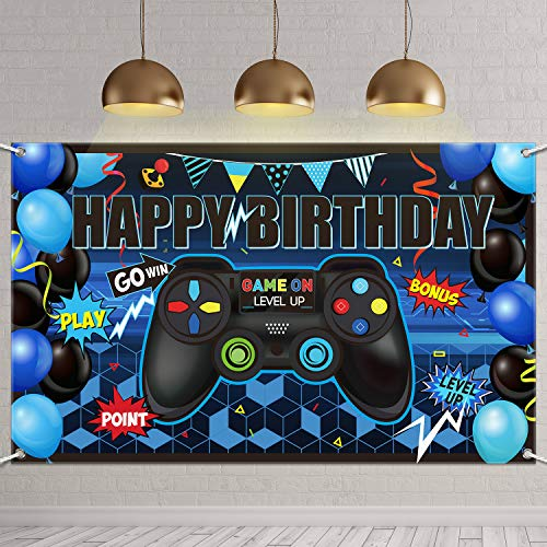 Pixel Party Background Video Game Theme Banner Block Birthday Backdrop Photography Wall Window Decorations