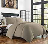 Zen Bamboo Ultra Soft 3-Piece Rayon Derived Bamboo Duvet Cover Set - Hypoallergenic and Wrinkle Resistant - King/Cal King - Taupe