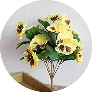 Li-Never Party Office Bouquet Desk Pansy Home Decor Wedding Artificial Flowers Ornament Table Fake Hotel Simulation Plant,Yellow 66