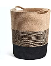 INDRESSME Extra Large Cotton Rope Basket - Woven Baskets Laundry Basket for Blankets Toys Storage Basket Cotton Thread Nursery Storage Bins Home Storage Containers