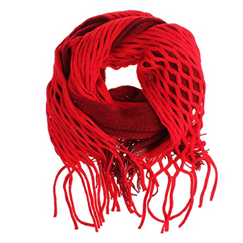 Nsstar Women Winter Warm Crochet Knit Long Tassels Soft Wrap Shawl Scarves Scarf Two Styles Infinity and Straight (Red)