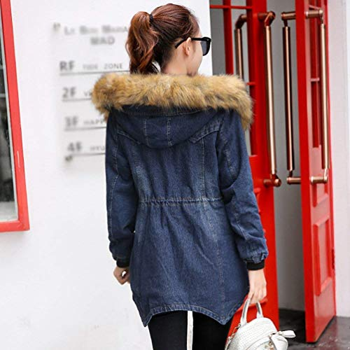 Invernali Sintetica Denim Manica Con Blau Baggy Plus Moda Lunga Cappuccio Jeans Donna Prodotto Mantello Vintage Donne Irregular Caldo Battercake Casuale Jacket Pelliccia Addensare Outerwear nSq0w64IHx