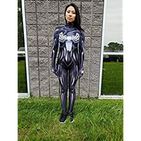 - 51GfgK8bCDL - AestheticCosplay Gwenom Cosplay Costume | AntiGwenom Red Carnage Gwen Stacy Suit Bodysuit | Lycra Fabric