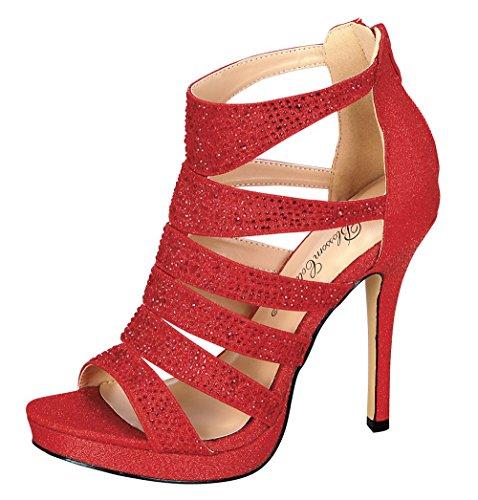 De Blomstre Samling Womens Gnisten Rhinestone Kutte Ut Kjole Sandal Red