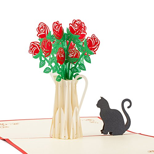 3D Pop Up Card, Rose and Cat Romantic Unique Greeting Card, Flower Card for Valentine's Day, Birthday, Anniversary, Wedding ()
