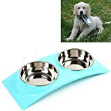 Food Dish Water Feeder Pet Cat Puppy Dog Bowel Stainless Steel Double Bowels Anti-skid Pet Bowel Blue