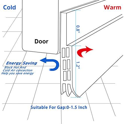 """Door Draft Stopper Door Sweep for Exterior/Interior Doors, Door Seal Strip Under Door Draft Blocker Seal, Soundproof Door Bottom Weather Stripping Weatherproof, 2"""" W x 39"""" L, White 2 Pack"""
