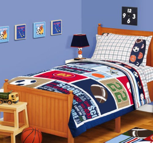 Amazon Sports Boys Baseball Basketball Football Twin Comforter Sheets Curtains 5 Piece Bed In A Bag Home Kitchen
