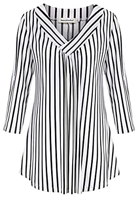 Nandashe Women's Tunic 3/4 Sleeve Roll up Tops Loose V Neck Shirt Dressy Blouses