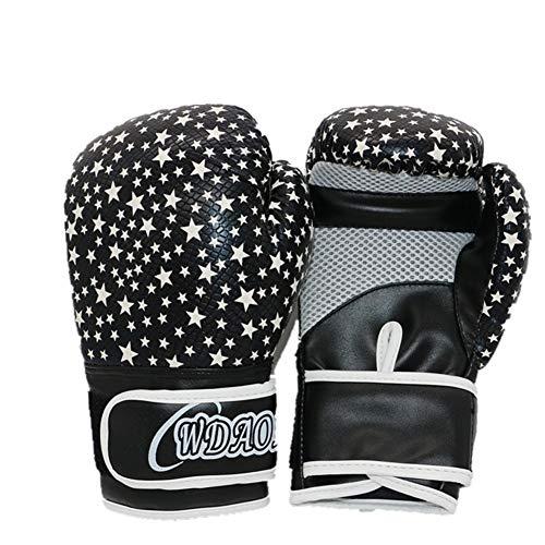 XJST Boxing Gloves,Children's Boxing Gloves 6Oz Environmentally Friendly PU Material Fight Training Muay Thai Boxing Fighting Juvenile Gloves for 4-14 Kids,Black