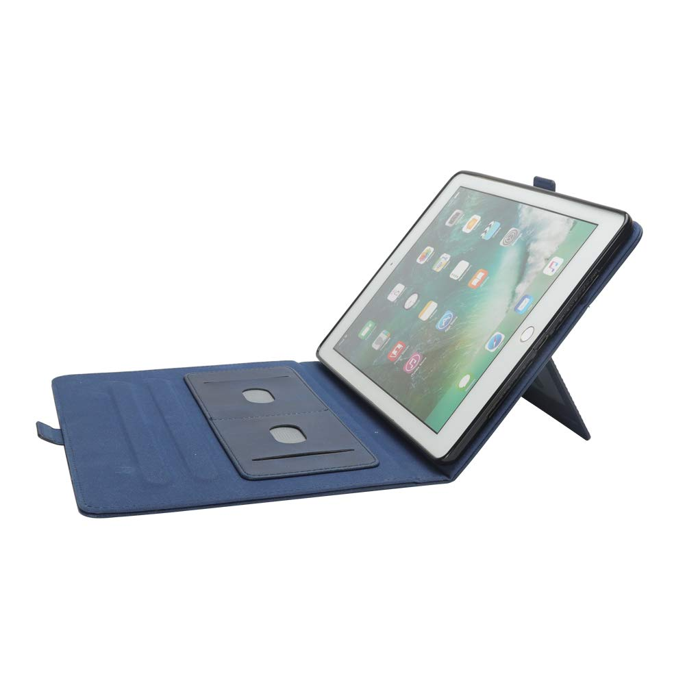 New iPad 12.8'' Case for Men, YiMiky Luxury Book Style Folding Stand Case with Document Pocket Card Slots Folio Smart Case Protective Cover Slim Stand Shell for iPad Pro 12.8 Inch - Dark Blue by YiMiky (Image #4)