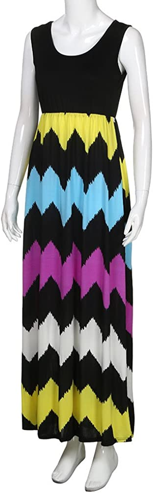 Tank Top Dresses for Women 2019 Loose Plain Boho Contrast Split Maxi Long Swing Dress