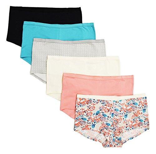 Cherokee 6 Piece Ladies Cotton Stretch Boyleg Underwear, (Best Cherokee Underwear)