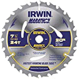 IRWIN 7 1/4'' X 5/8'' Diamond X .047'' 8300 RPM 24 Teeth ATB Grind Vise,Grip Marathon Carbide Tipped Portable Corded Circular Saw Blade (For Wood Cutting) (Carded),5 Each