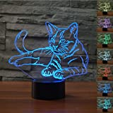 3D Illusion Bedside Table Lamp,WONFAST 7 Colors Changing Touch Switch LED Desk Night Light Decoration Lamps Perfect Birthday Christmas Gift (Animal Cat)