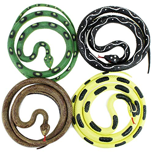 Boley 4 Pack Rubber Snakes - Realistic Fake Snake Toys for Kids -Great Pack for Birthdays, Party Favors, and Stocking Stuffers!]()