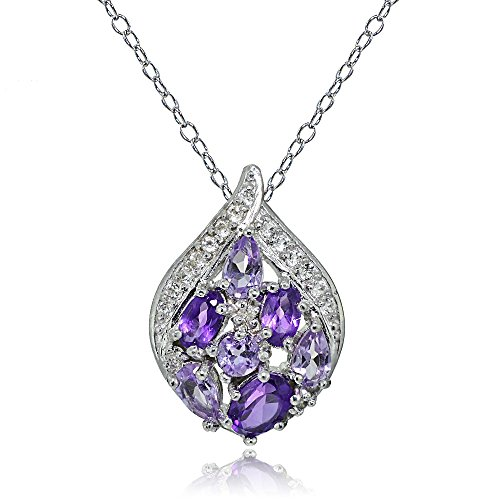 Sterling Silver African Amethyst, Amethyst and White Topaz Cluster Tonal Teardrop Slide Necklace