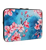 Cherry Blossom Laptop Sleeve Bag 13-13.3 Inch, Water Repellent Neoprene Light Weight Computer Skin Bag, Blue Notebook Carrying Case Cover Bags