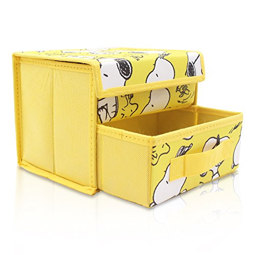 Finex Yellow Snoopy Foldable Storage Organizer Box for Desk - with Removable Drawer