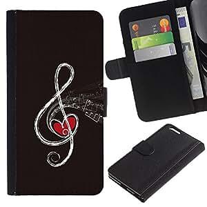 KLONGSHOP // Tirón de la caja Cartera de cuero con ranuras para tarjetas - NOTA DE LA MÚSICA RESUMEN - Apple Iphone 6 PLUS 5.5 //
