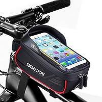 SGODDE Sacoche de Cadre Vélo Téléphone, Grand Capacité Sacoche Vélo Cadre Étanche Toucher Sensible avec Pare-Soleil,...