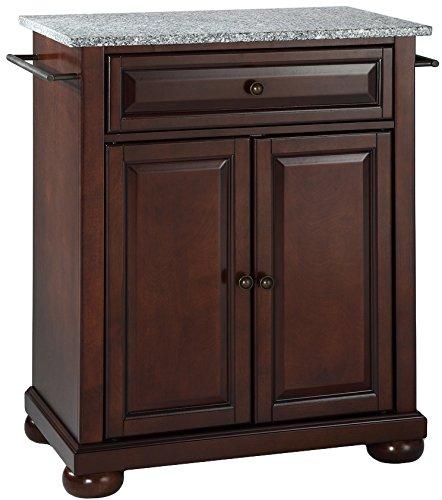 Dark Mahogany Island - Crosley Furniture Alexandria Cuisine Kitchen Island with Solid Grey Granite Top - Vintage Mahogany